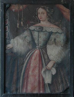 Portrait of a Peruvian Noblewoman before restoration